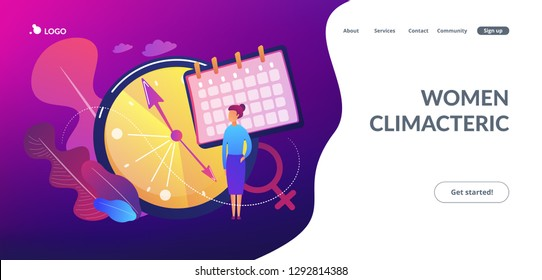 Menopause woman standing at her biological clock measuring age and calendar. Menopause, women climacteric, hormone replacement therapy concept. Website vibrant violet landing web page template.