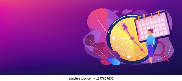 Menopause woman standing at her biological clock measuring age and calendar. Menopause, women climacteric, hormone replacement therapy concept. Header or footer banner template with copy space.