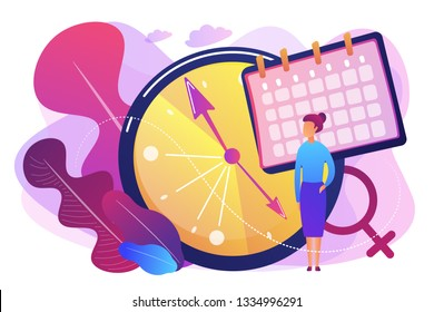 Menopause woman standing at her biological clock measuring age and calendar. Menopause, women climacteric, hormone replacement therapy concept. Bright vibrant violet vector isolated illustration