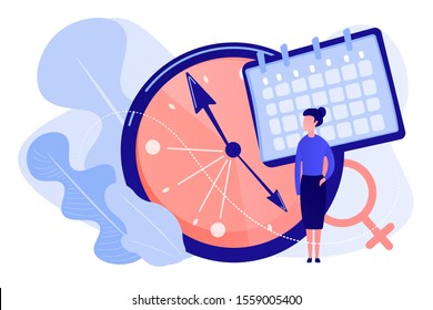 Menopause woman standing at her biological clock measuring age and calendar. Menopause, women climacteric, hormone replacement therapy concept. Pinkish coral bluevector vector isolated illustration