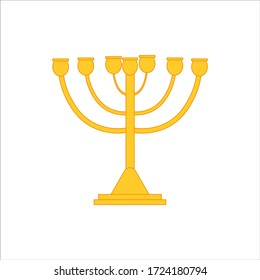 Menora is a typical chandelier of the Jewish religion. illustration for web and mobile design.