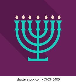 Menorah 9 candle candelabrum vector illustration. Holiday of Hanukkah element. Jewish symbol for celebration of Chanukah or Festival of Lights. Feast of Dedication lamp icon or festivity item.