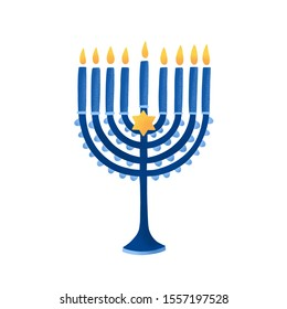 Menorah with david star vector illustration. Hebrew lampstand isolated on white background. Jewish holiday. Traditional hanukkah candlestick. Nine branched candelabrum. Religious and holiday attribute