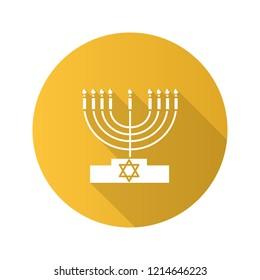 Menorah flat design long shadow glyph icon. Hanukkah candles. Jewish festival of lights. Feast of Dedication. Vector silhouette illustration