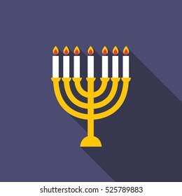 menorah for Hanukkah icon. vector illustration