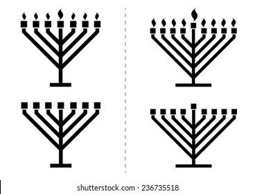 Menorah / hanukkiah with / without lights, candles