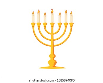 Menorah icon. Flat illustration of menorah vector icon for web design. Candelstick for hanuka, happy new year symbol. Biblical candelabrum icon. Romantic evening concept symbol for web ui ux interface