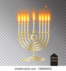 Menorah icon. Hanukkah menorah isolated, transparent lights effect candelabra and candles realistic flame and sparkles vector illustration Chanukah Jewish Holiday festival of lights symbol, decoration