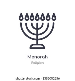 menorah outline icon. isolated line vector illustration from religion collection. editable thin stroke menorah icon on white background