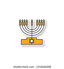 Menorah patch. Hanukkah candles. Jewish festival of lights. Feast of Dedication. Color sticker. Vector isolated illustration