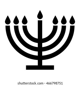 Menorah symbol seven branch , black and white isolated vector illustration