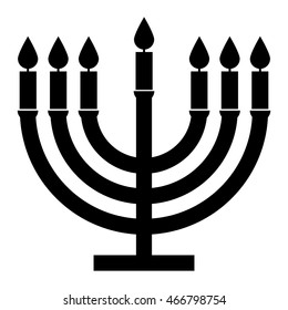 Menorah symbol seven candles , black and white isolated vector illustration