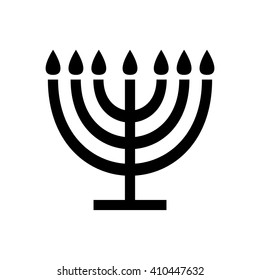 Menorah symbol . Vector illustration sign icon Judaism Black White Seven Branch
