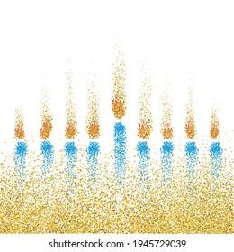 Menorah symbolische Illustration mit Kerzenlicht. Jüdische Menorah. Festival der Lichter konzeptuelles Bild. Goldenes Licht. Vektorgrafik. Einzeln auf Weiß
