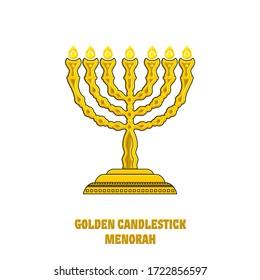 Menorah in the tabernacle, the temple of Solomon. Menorah. The ritual lamp of the Jewish religion.