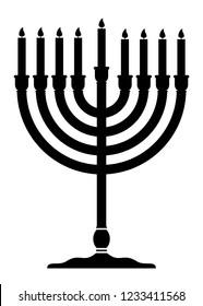 Menorah vector icon. Menorah for Hanukkah. Religion icon. Silhouette Flat style