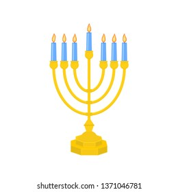 Menorah vector icon. Menorah - Traditional seven-branched Jewish candlestick for Hanukkah design. Isolated on white background. Vector illustration.