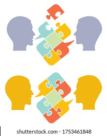 Men,psychology of understanding and dialog. Two Male stylized head silhouettes with puzzle speech bubble symbolizing psychological processes of dialogs. Vector available