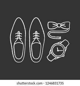 Mens accessories chalk icon. Dress code. Menswear. Men's style and fashion. Shoes, wristwatch and tuxedo bow tie. Isolated vector chalkboard illustration