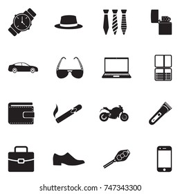 Men's Accessories Icons. Black Flat Design. Vector Illustration.