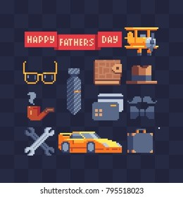 Men's accessories set. Pixel 80's art style. Happy father day. Dad holiday greeting. Design greeting and invitation cards. Isolated vector illustration.