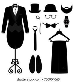 Men's Accessories. Wedding men's set. Flat design. Vector illustration.