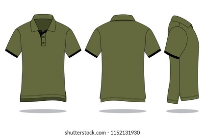 Men's army polo shirt vector (Shirts long in back short in front)