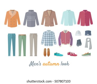 Mens autumn look apparel set. Men's clothing. Outerwear. Mens look, shoes, accessories. Autumn winter collection. Stylish fashionable clothes. Best world brands trends. Vector in flat style design
