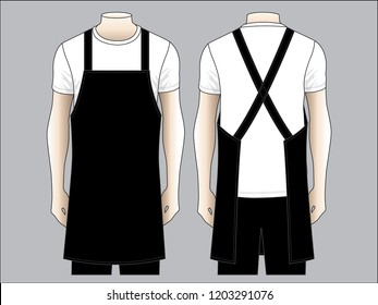 Men's Black Apron Vector for Template