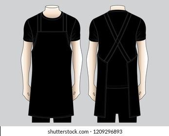 Men's Black Apron Vector for Template
