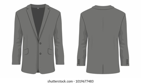 Men's black business suit. Front and back views on white background