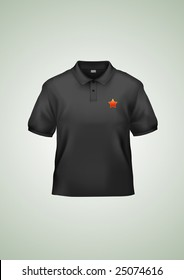 Men's black polo shirt design template (contains gradient mesh elements). Very accurate and detailed.