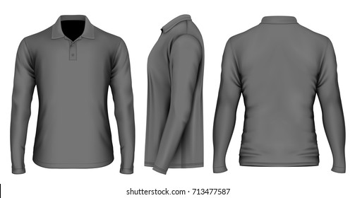 Men's black polo-shirt front, back and side views. Vector illustration.