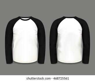 Men's black raglan sweatshirt long sleeve in front and back views. Vector template. Fully editable handmade mesh.