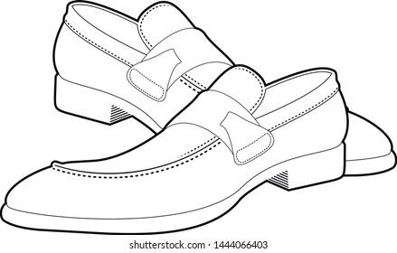 Men's black shoes- vector illustration.