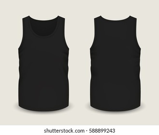 Men's black sleeveless tank in front and back views. Vector illustration with realistic male shirt template. Fully editable handmade mesh. 3d singlet used as mock up for prints or logo design.