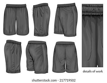 Men's black sport shorts (front, back, side and half-turned views). Vector illustration. Spot colors only.