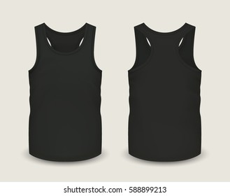 Men's black tank top without sleeves in front and back views. Vector illustration with realistic male shirt template. Fully editable handmade mesh. 3d singlet used as mockup for prints or logo design.