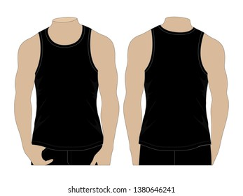 Men's Black Tank Tops for Template