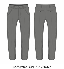 Men's black trousers. Front and back views on white background