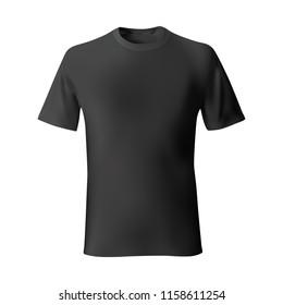 Men's black t-shirt front views template. Vector illustration.