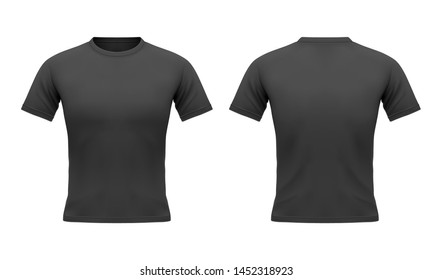 Men's black t-shirt with short sleeve in front and back. Sport u-neck clothing, design template. Blank mockup. 3d realistic vector iilustration isolated on white background