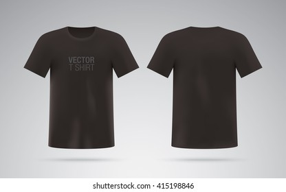 Men's black T-shirt. Short sleeve vector T-shirt template isolated on background. Realistic mockup.