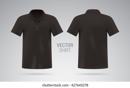 Men's black vector polo shirt template. Realistic mockup.
