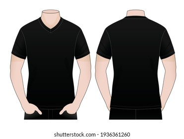 Men's Blank Black V-Neck Shirt Vector For Template.Front And Back View.