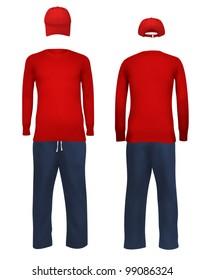 Men's blank sport suit template.