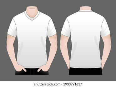 Men's Blank White V-Neck Shirt Vector For Template.Front And Back View.