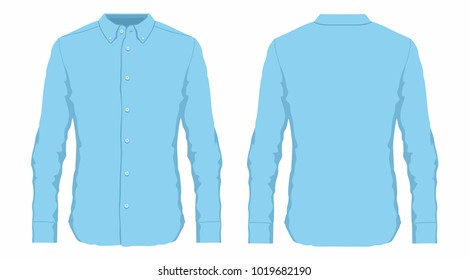 Men's blue dress shirt. Front and back views on white background