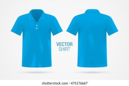 Men's blue vector polo shirt template isolated on background. Men's classic blue shirt realistic mockup.