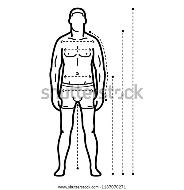 Mens Body Measurements Chart Man Clothing Stock Vector